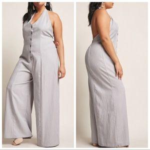 NWT  gray halter pinstripe jumpsuit - FREE LASHES!